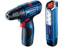 Аккумуляторный шуруповёрт Bosch GSR 120-Li + фонарь GLI 12V-300 (06019G8004)
