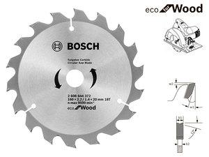 Пильный диск Bosch Eco Wood, 160 мм, 18 зуб. (2608644372)