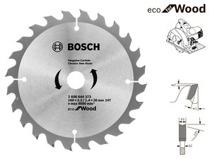 Пильный диск Bosch Eco Wood, 160 мм, 24 зуб. (2608644373)