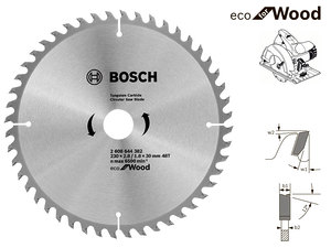 Пильный диск Bosch Eco Wood, 230 мм, 48 зуб. (2608644382)