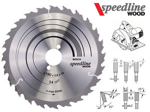 Циркулярный диск Bosch Speedline Wood 190 мм, 24 зуб. (2608640801)