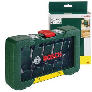 Набор фрез по дереву, Bosch 12 шт. хвостовик 8 мм (2607019466)