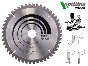 Циркулярный диск Bosch Optiline Wood 216 мм, 48 зуб. (2608640432)